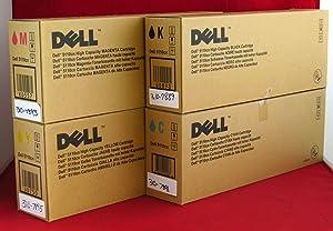 Dell GD898 GD900 KD557 JD750 5110CN 5110N Toner Cartridge Set (Black Cyan Magenta Yellow, 4-Pack) in Retail Packaging