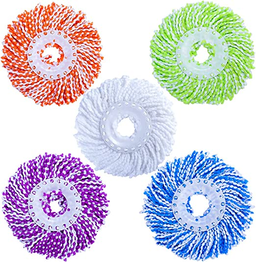5 Pack Microfiber Replacement Mop Head Refill for 360/° Spin Magic Mop Includes 2 Professional Microfiber Cleaning Cloths Round Shape Standard Universal Size