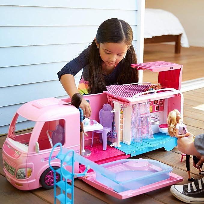 Barbie Dream Camper Playset Pop Out Pool Water Slide Hammocks Kitchen Bathroom