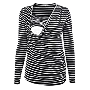 Ecavus Women's Ruched Side-Shirred Nursing Top Short Long Sleeve Breastfeeding Tee Shirt
