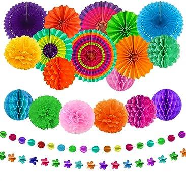 aovowog 21 Pack Decoración Fiesta Abanicos de Papel Flores Pompom Bolas de Nido de Abeja Guirnaldas para Celebración Fiesta de Cumpleaños Bodas Carnaval Mexicano: Amazon.es: Juguetes y juegos
