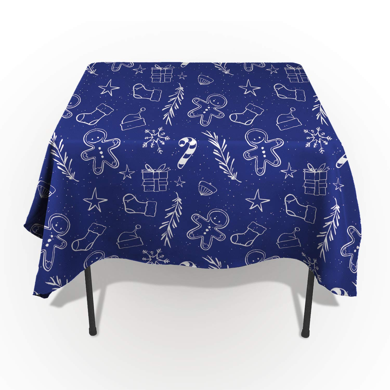 長方形ポリエステルテーブルクロス クリスマス 星 水玉 ツリーテーブルクロス 洗濯機洗い可能 テーブルカバー キッチン ダイニング 宴会 パーティー ブルー 60