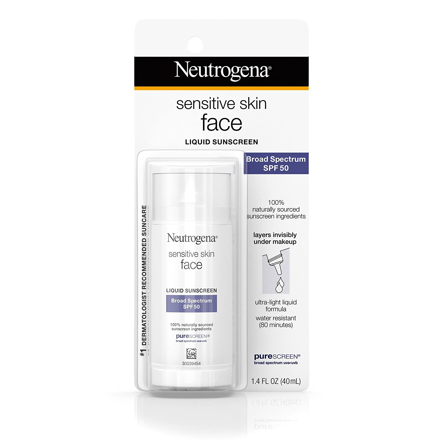 Neutrogena Face Sunscreen for Sensitive Skin from Naturally Sourced Ingredients with Zinc Oxide, Broad Spectrum SPF 50, 1.4 fl. Oz Johnson & Johnson SLC 08680086041