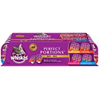 WHISKAS PERFECT PORTIONS Adult Wet Cat Food - Chicken, Beef, Whitefish and Tuna, Salmon, 75g Trays (24 pack)