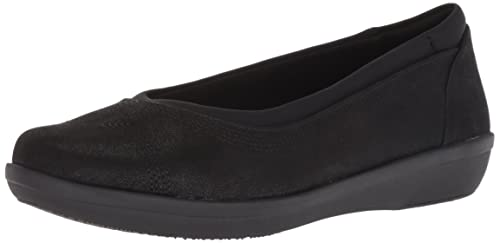 CLARKS Women's Ayla Low Ballet Flat, Black Synthetic Nubuck, 070 W US best women's dressy flats