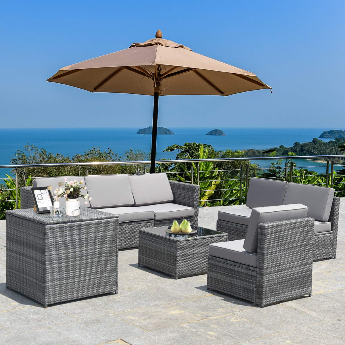 Tangkula 8 PCS Outdoor Patio Furniture Set, Rattan Wicker Sofa Set, Sectional Sofa Couch Conversation Set w/Storage Table and 12 Zippered Cushions for Garden Backyard Poolside (Grey)