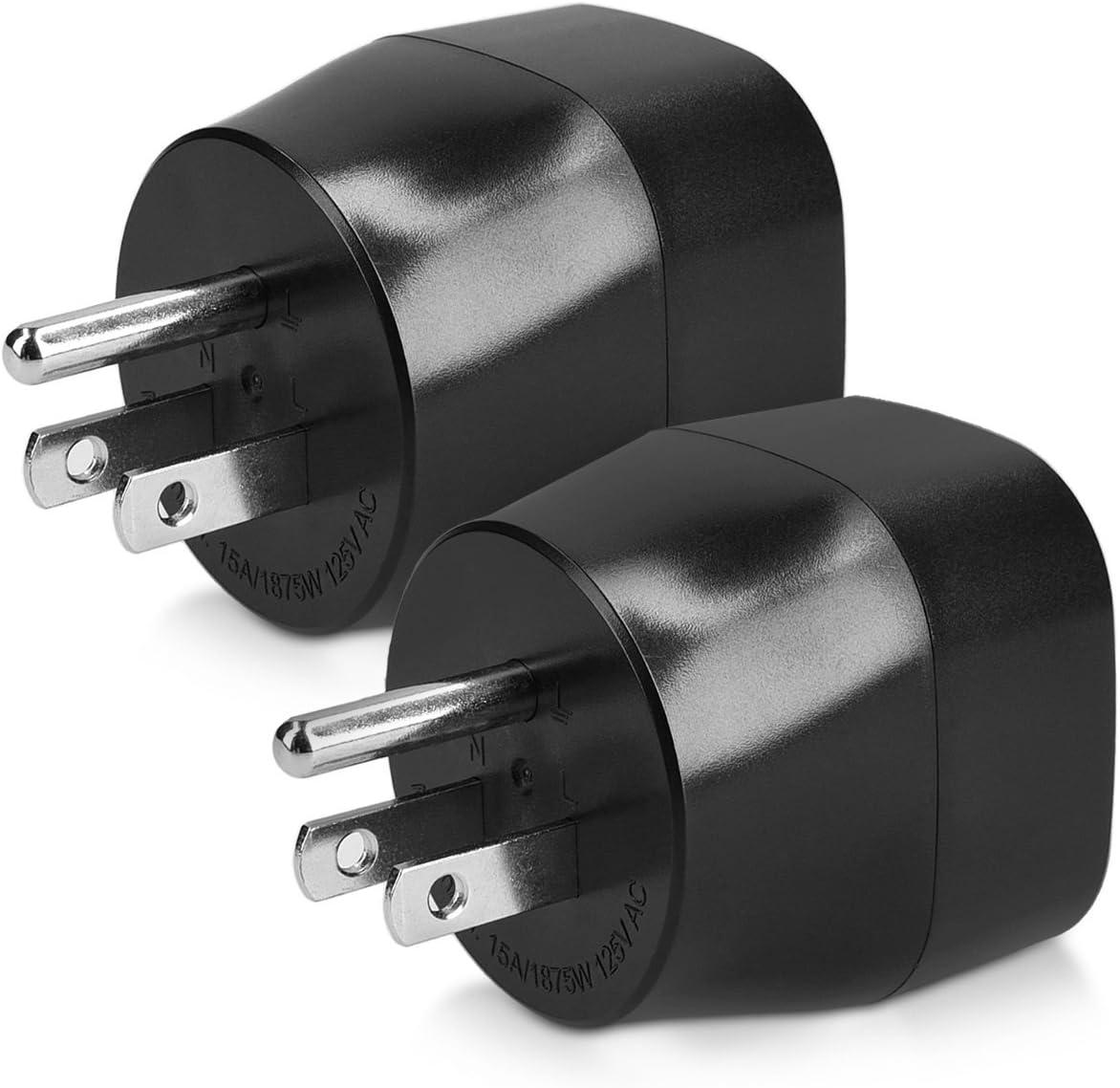 kwmobile 2 Adaptadores de Viaje para EEUU Tipo B - 2X Adaptador de Enchufe schuko - Conector USA Canadá Japón - Conectores de enchufes Color Negro
