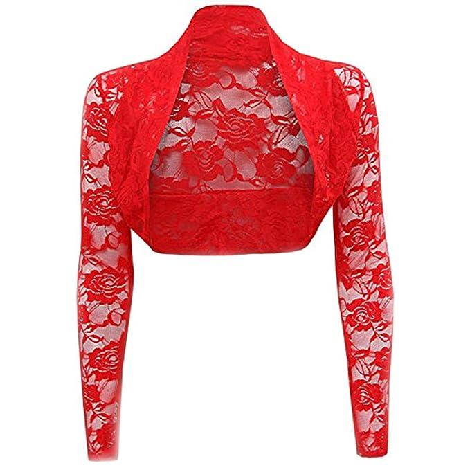 Gouache Womens Sheer Lace Shrugs Boleros Long Sleeve Wedding Bridal Cardigan Crop Top Red M