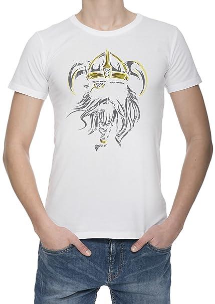 Vikingo Man Rey Corona Logo Camiseta Para Hombre Blanca Todos Los Tamaños | Mens White T