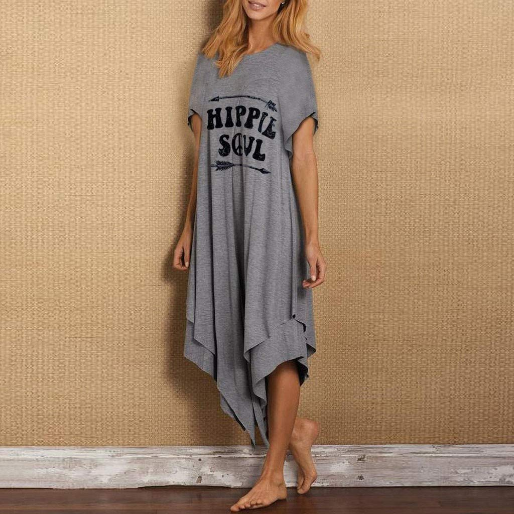 Hippie Soul Women Letter Printed Tank Top Dress SADUORHAPPY Short Sleeve O-Neck Casual Loose Mid-Calf Dress