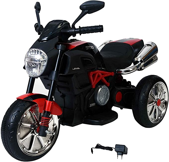 SHAKYA WORLD 3 Wheel Battery Operated Ride On Bike for Kids, 1 to 6 Years with Rear Suspension , Black