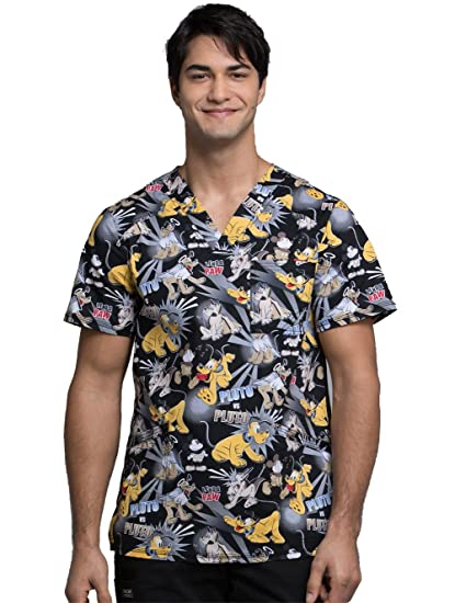 592cccd42a7 Image Unavailable. Image not available for. Color: Cherokee Tooniforms  Men's V-Neck Pluto Print Scrub Top ...