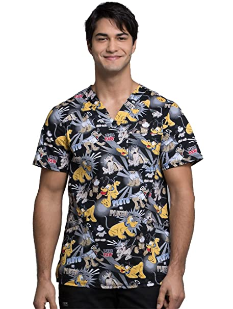 0e8a97e5492 Image Unavailable. Image not available for. Color: Cherokee Tooniforms  Men's V-Neck Pluto Print Scrub Top ...