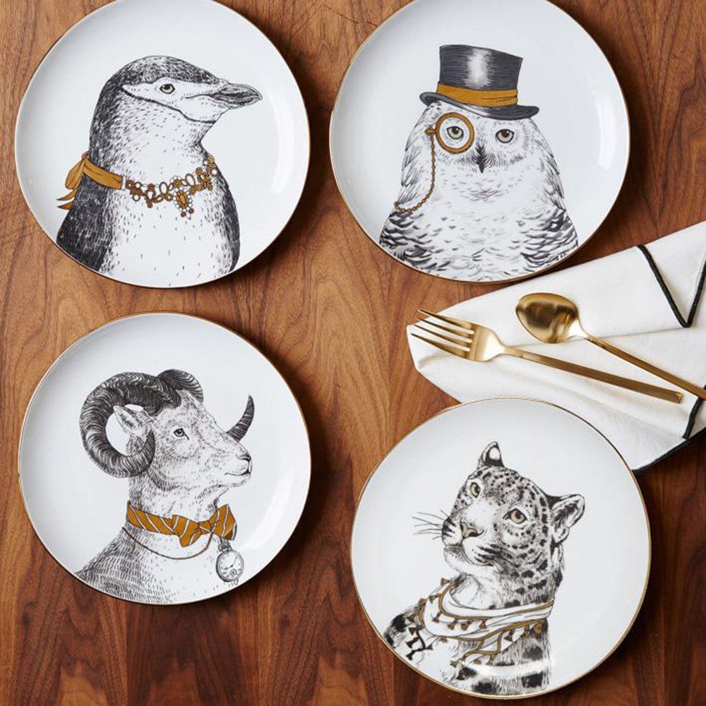 XDOBO Fine Bone China Appetizer Salad/ Dessert Plates (Set of 4), 8'', Multi-patterns (4)