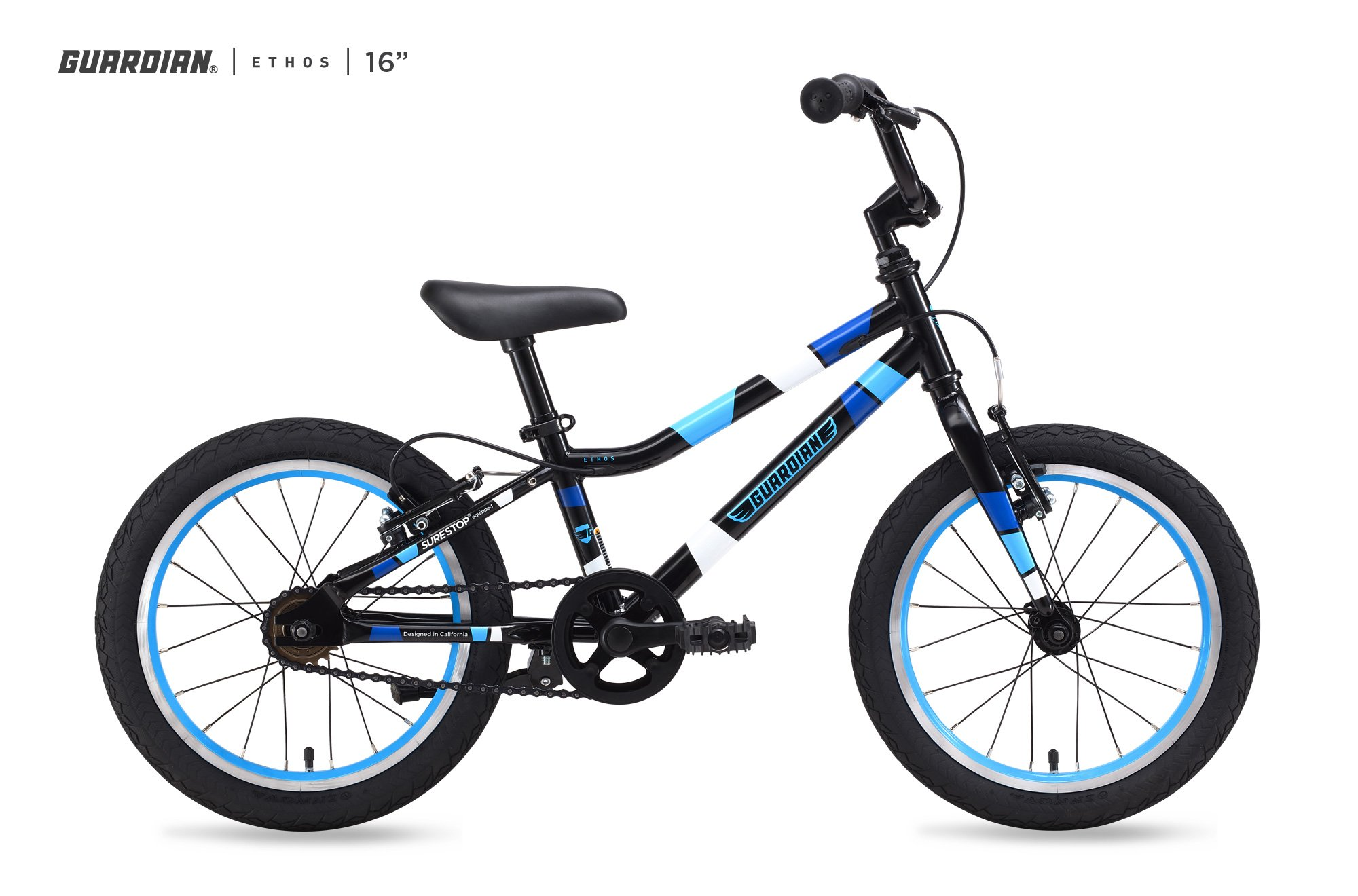 Guardian Bikes Company Ethos Safer Patented SureStop Brake System 16'' Kids Bike, Black/Blue