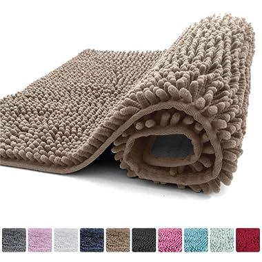 Kangaroo Plush Luxury Chenille Bath Rug (30x20) Extra Soft and Absorbent Shaggy Bathroom Mat Rugs, Machine Wash/Dry, Strong Underside, Plush Carpet Mats for Children's Tub Shower & Bath Room (Beige)