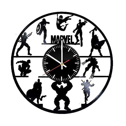 LKCAK Marvel Comics Vinyl Clock - Superhero Wall Art Room ...