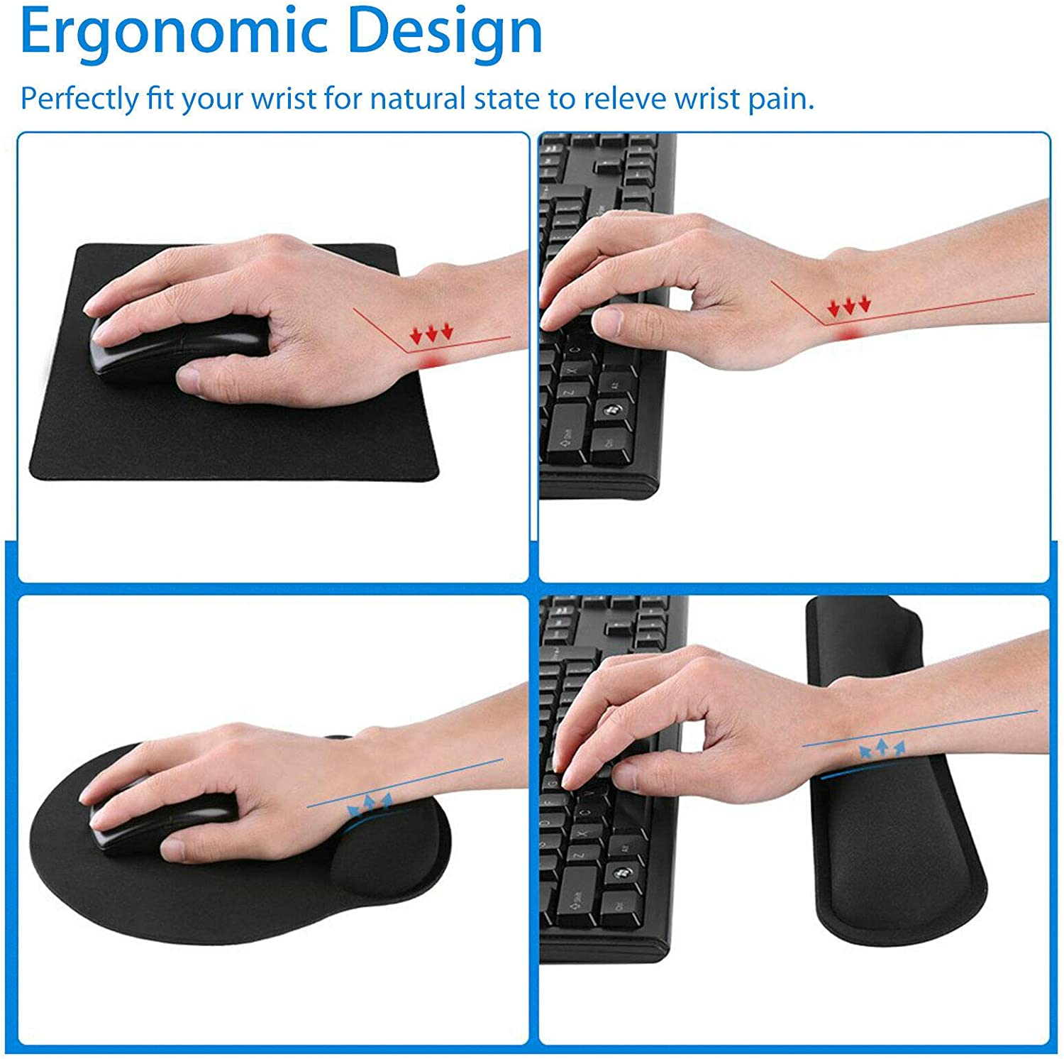 Made of Memory Foam and Gel Laptop Computer Mac Durable Comfortable /& Lightweight for Easy Typing Pain Relief eoocvt Keyboard Wrist Rest and Mouse Wrist Rest Pad for Office