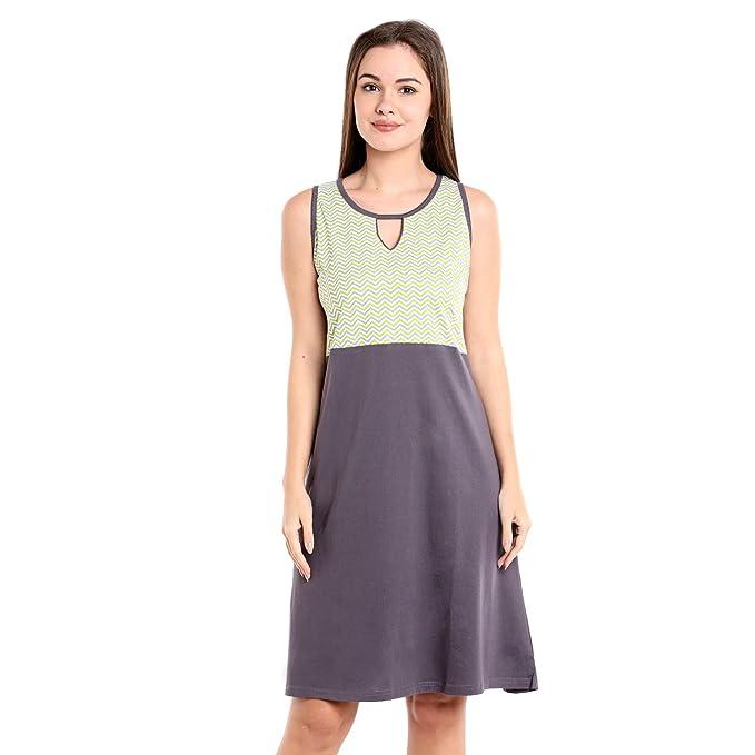 Nightwear for women - Sinker Material - Regular Fit - Knee length Nighty  for Women - 656c8a125