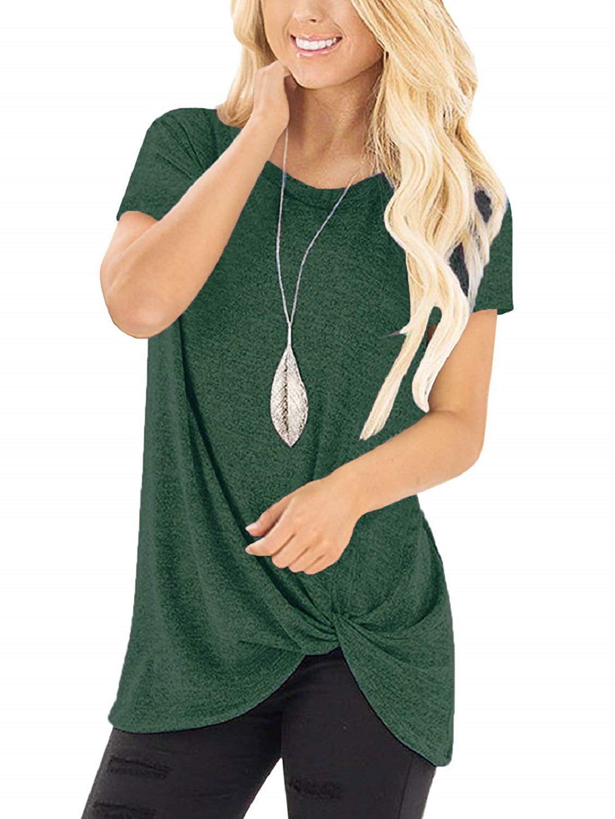 SHIBEVER Summer Soft Loose Casual Women's Tops Shirts Fashion Twist Knotted Blouses Short Sleeve Round Neck Tunic T Shirt Green XL by SHIBEVER