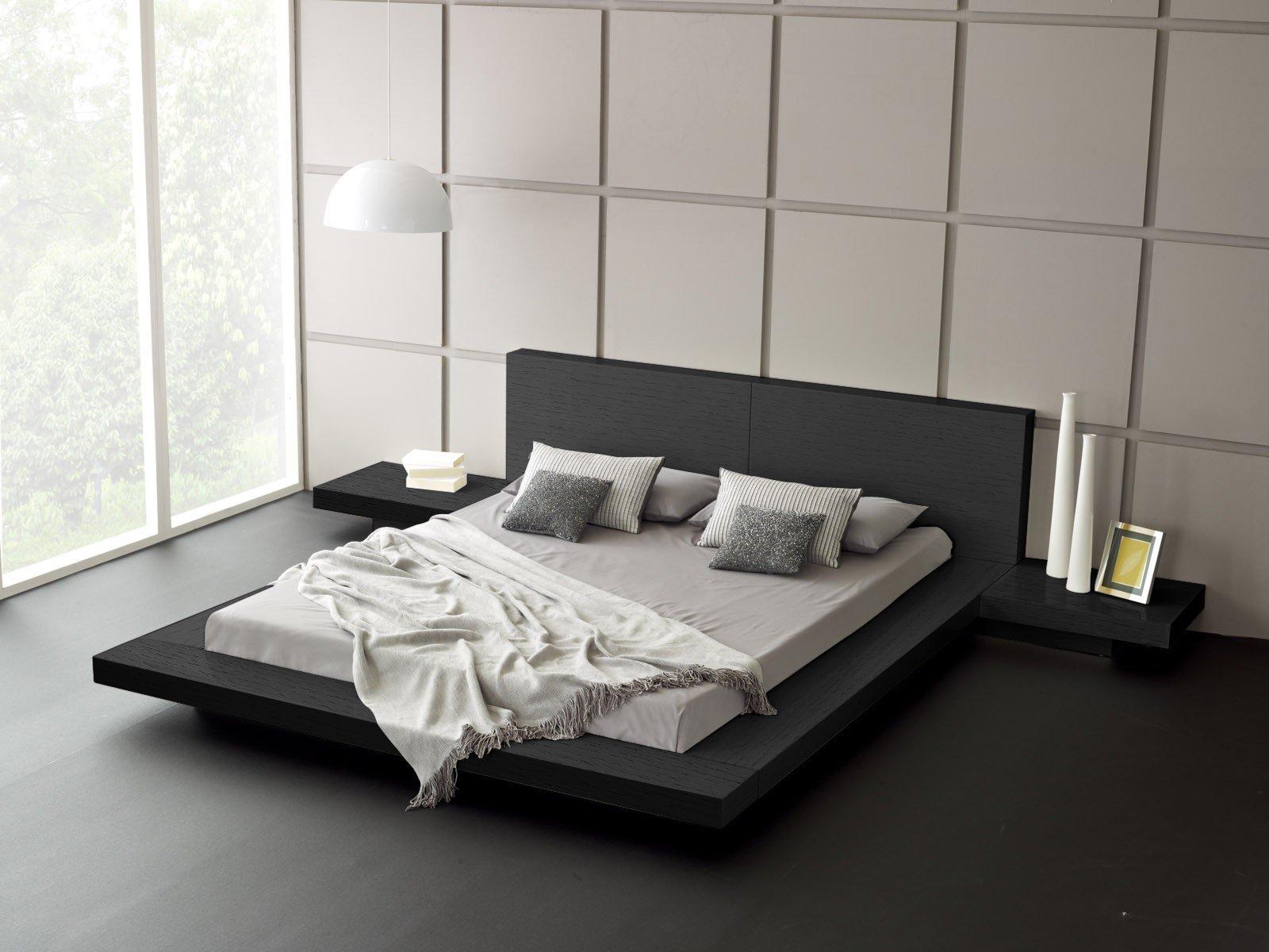 Matisse Fujian Modern Platform Bed + 2 Night Stands Queen (Ash Black) by Matisse