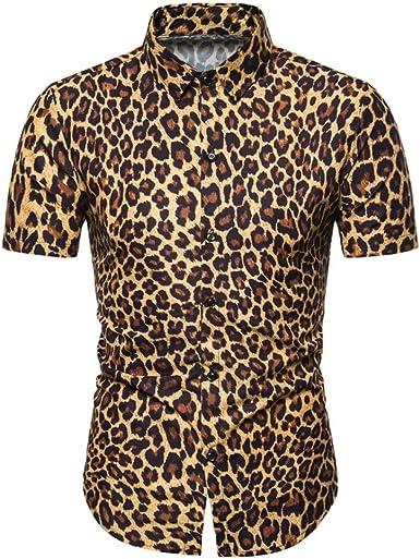 Camisa de Hombre, Talla Europea, Camisa de Manga Corta con Estampado de Moda de Verano, Camisa con Estampado de Leopardo Delgado: Amazon.es: Ropa y accesorios