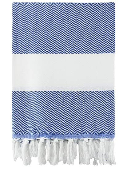 Luxurious 100% Pure Natural Turkish Cotton, Quick-Dry, Highly Absorbent and  Super Soft Fishbone Peshtemal Towel - Multifunctional (1 Piece, Royal