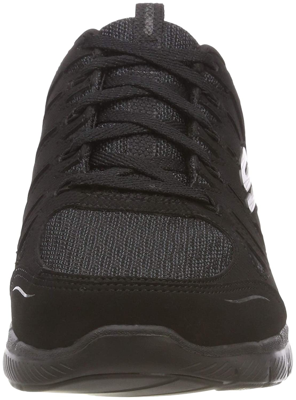 Skechers Flex Appeal 3.0 Billow, Baskets Femme Noir (Black LeatherMeshTrim Bbk) 38 EU