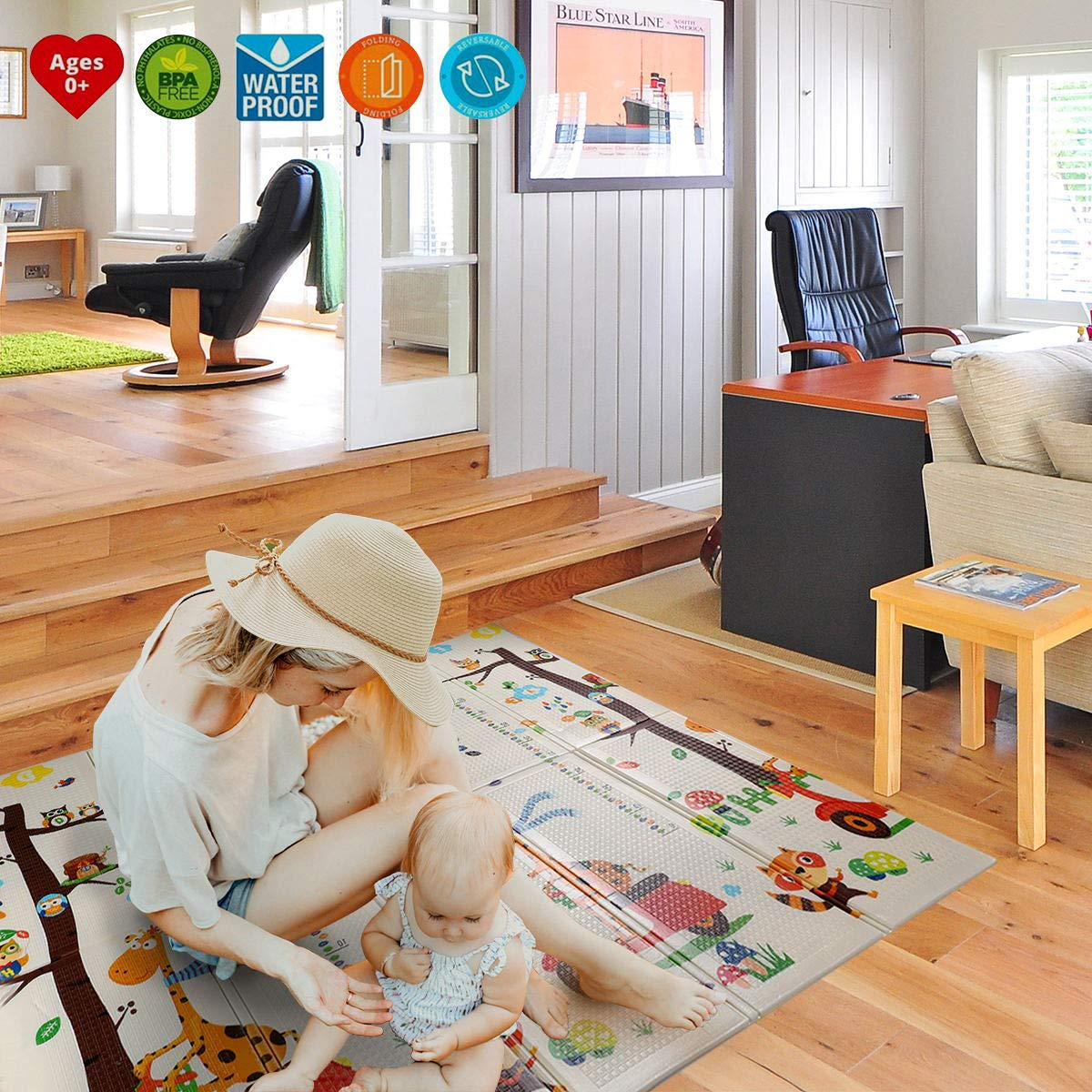 WonderView Baby Playmat Crawling Mat Folding Mat, Doble Side Portable Colorful and Waterproof Playmat for Kids Baby and Toddler, Thick Extra Large Playmat