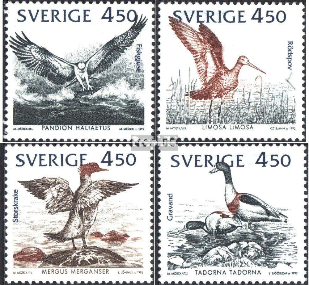 Prophila Collection Schweden 1742-1745 Briefmarken f/ür Sammler kompl.Ausg. 1992 Naturschutz V/ögel