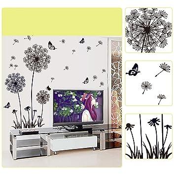 d81b6f157e2 YESURPRISE Vinilo Decorativo Pegatina Pared Para Sala Dormitorio Diente De  León Mariposas Color Negro  Amazon.es  Bricolaje y herramientas