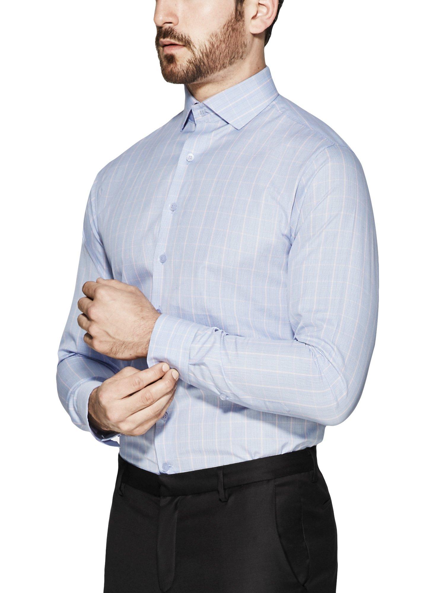 Vardama Men's Performance Formal Shirt With Sweat Proof Technology Blue Pink Windowpane Checks Fulton (Large)
