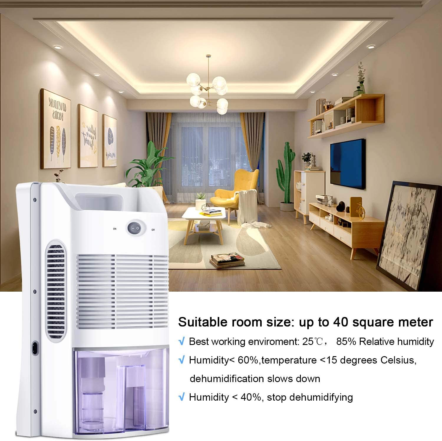 Compact and Portable Mini Dehumidifier for Basement Bedroom Bathroom Baby Room Home Office Electric Home Dehumidifier with 2L Water Tank LATITOP Small Dehumidifier High Humidity