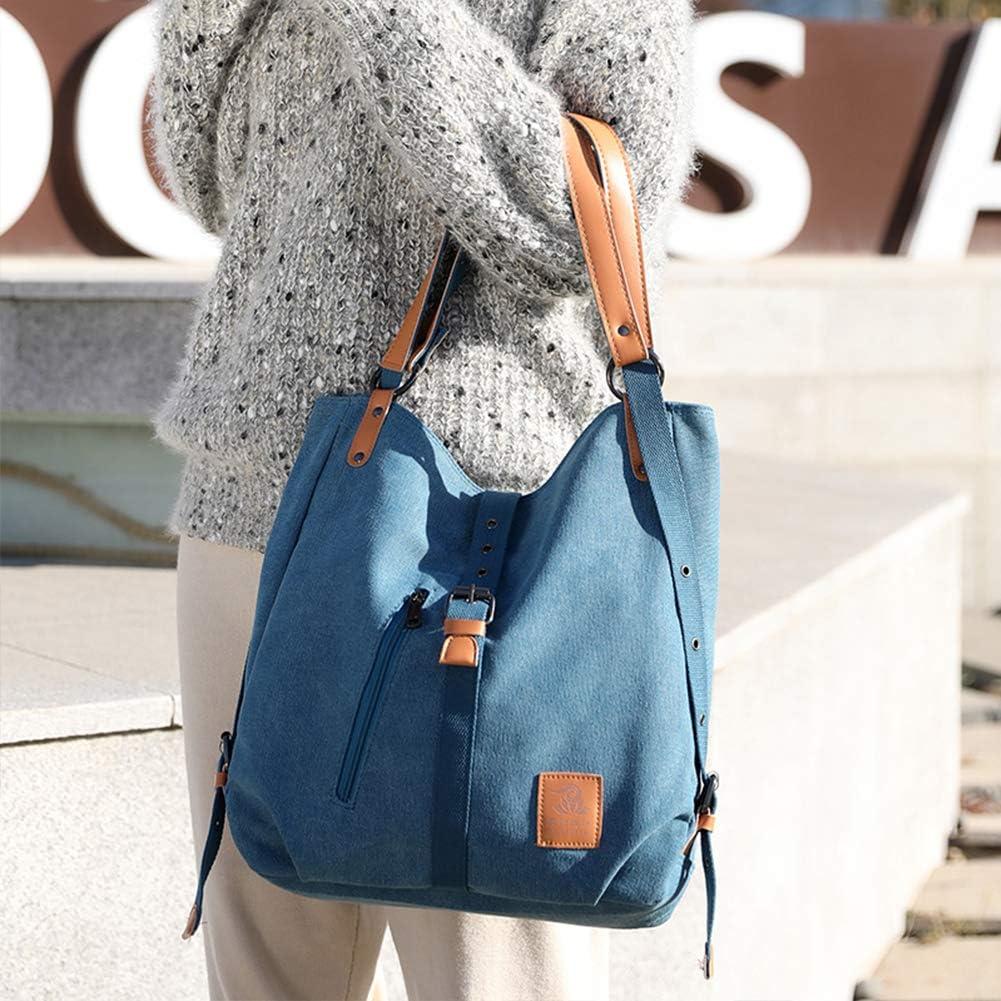 Chikencall 3 ways Women Canvas Purses Handbags Totes Shoulder Bag Backpack Hobo