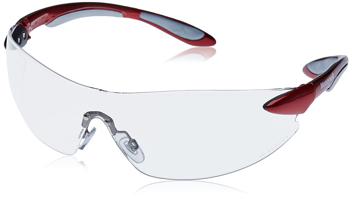 Honeywell 1017081 Ignite Safety Eyewear Red/Silver Frame with Clear Fogban/Anti-Scratch Lens
