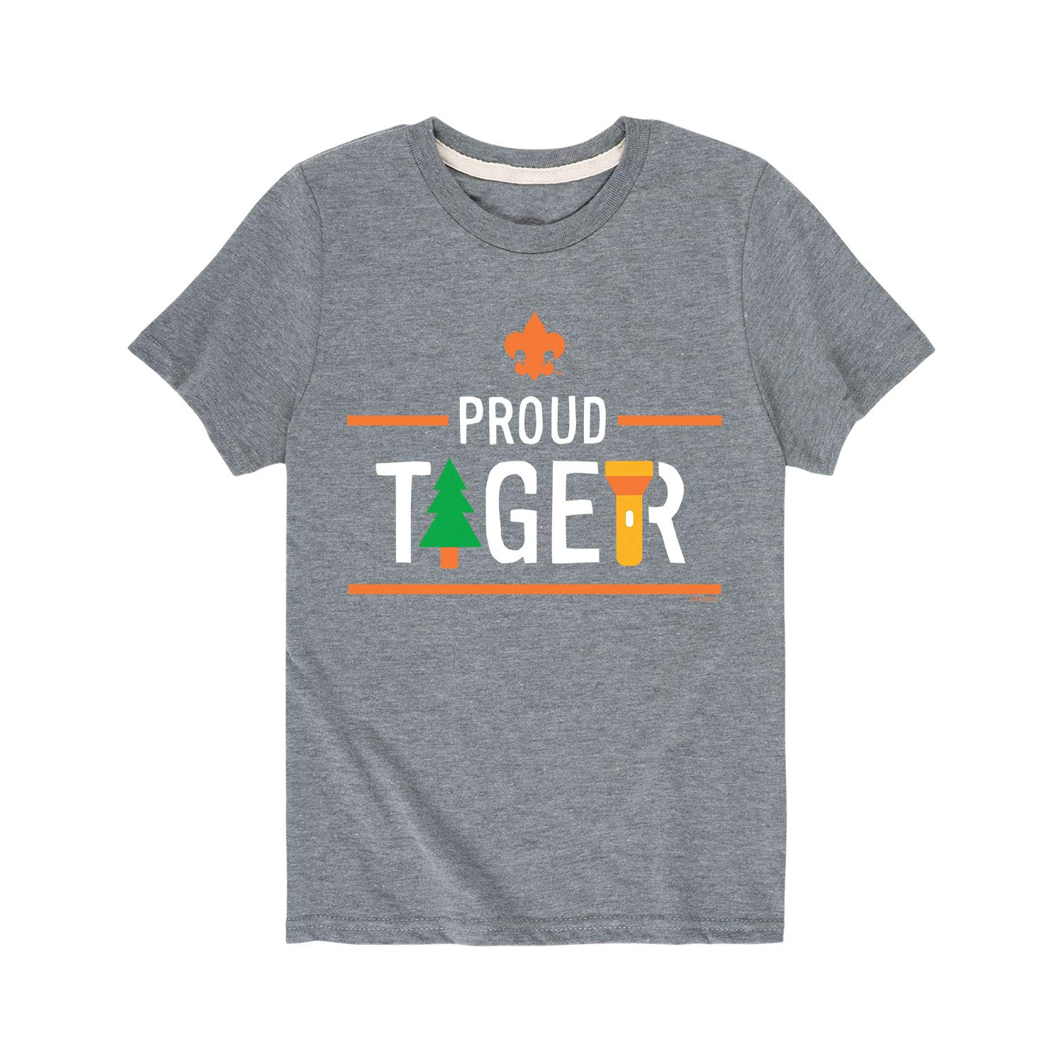 Boy Scouts of America Icon Tiger Cub Scout - Youth Short Sleeve Tee Athletic Heather by Instant Message