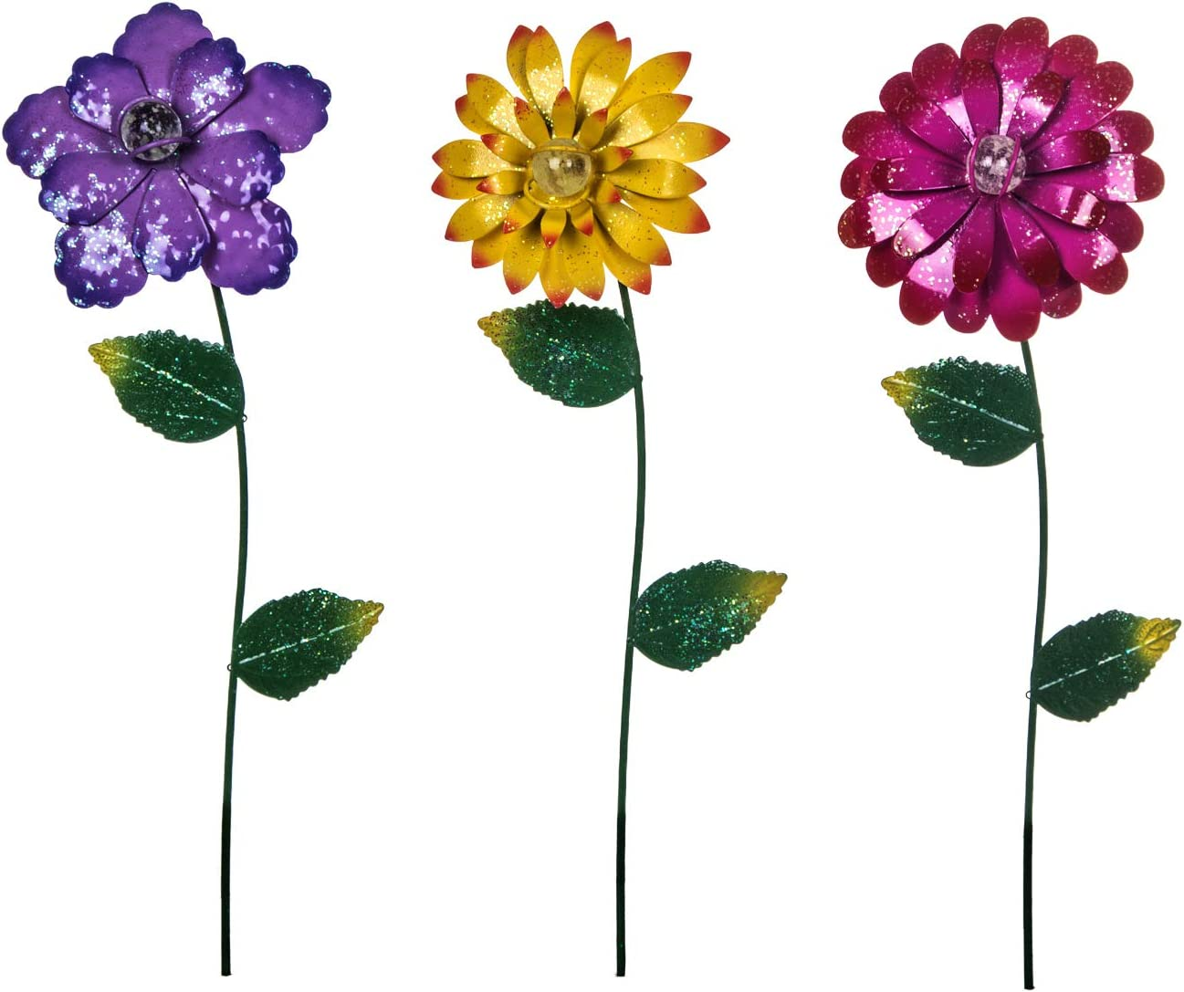 DUSVALLY Metal Flower Stake Garden Stake Outdoor Glow in Dark Yard Lawn Ornaments Plant Pot Flower Bed Decor,Set of 3,Colorful