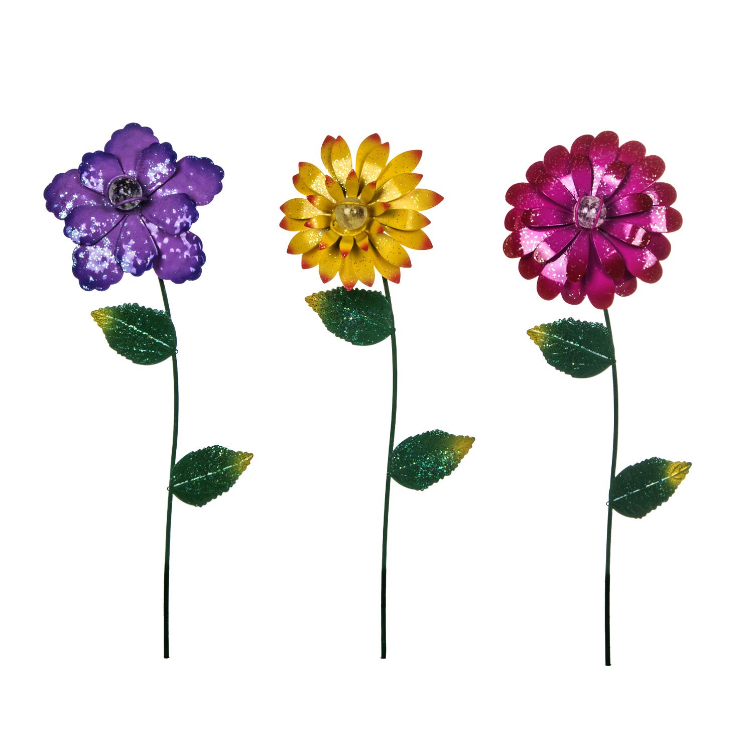 Floral Garden Stake Outdoor Glow in Dark Plant Pick Water Proof Metal Flower Stick Décor for Lawn Yard Patio,3 asst