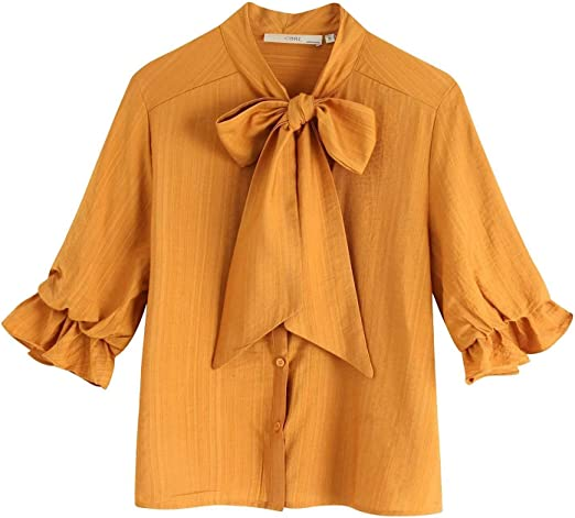 YuQuanXin Camisa Arco Camisa Amarilla para Mujeres (Color : Yellow, Size : M): Amazon.es: Hogar