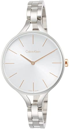 Calvin Klein Womens Steel Bracelet & Case Swiss Quartz Silver-Tone Dial Analog Watch K7E23B46
