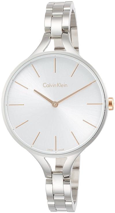 Amazon.com: Calvin Klein Womens Steel Bracelet & Case Swiss Quartz Silver-Tone Dial Analog Watch K7E23B46: Watches