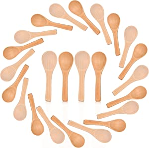 100 Pieces Small Wooden Spoons Kitchen Tasting Spoons Condiments Salt Spoons Soup Serving Spoons Coffee Honey Teaspoons Tea Sugar Candy Spoons for Home Kitchen (Natural Wood Color, Light Brown)