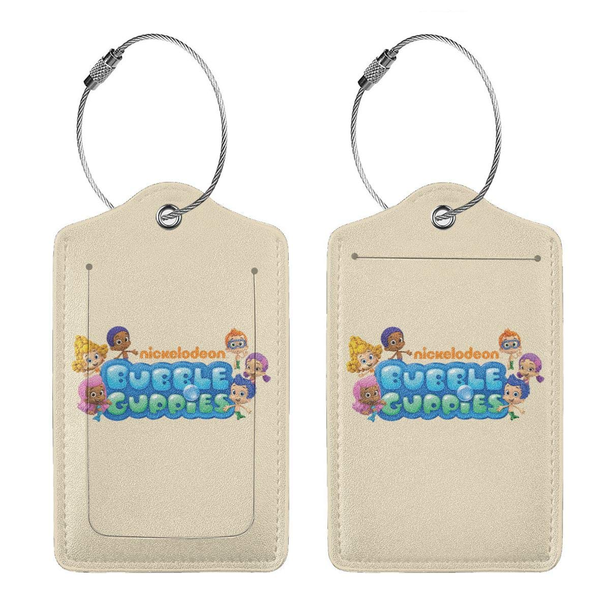 Bubble Guppies Logo Leather Luggage Tag Travel ID Label For Baggage Suitcase
