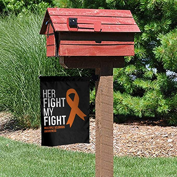 Her Fight Is My Fight Multiple Sclerosis Ms Awareness Garden Flag Welcome House Flag For Celebration Festival Home Outdoor Garden Decorations 12 X 18 Inch Kitchen Dining