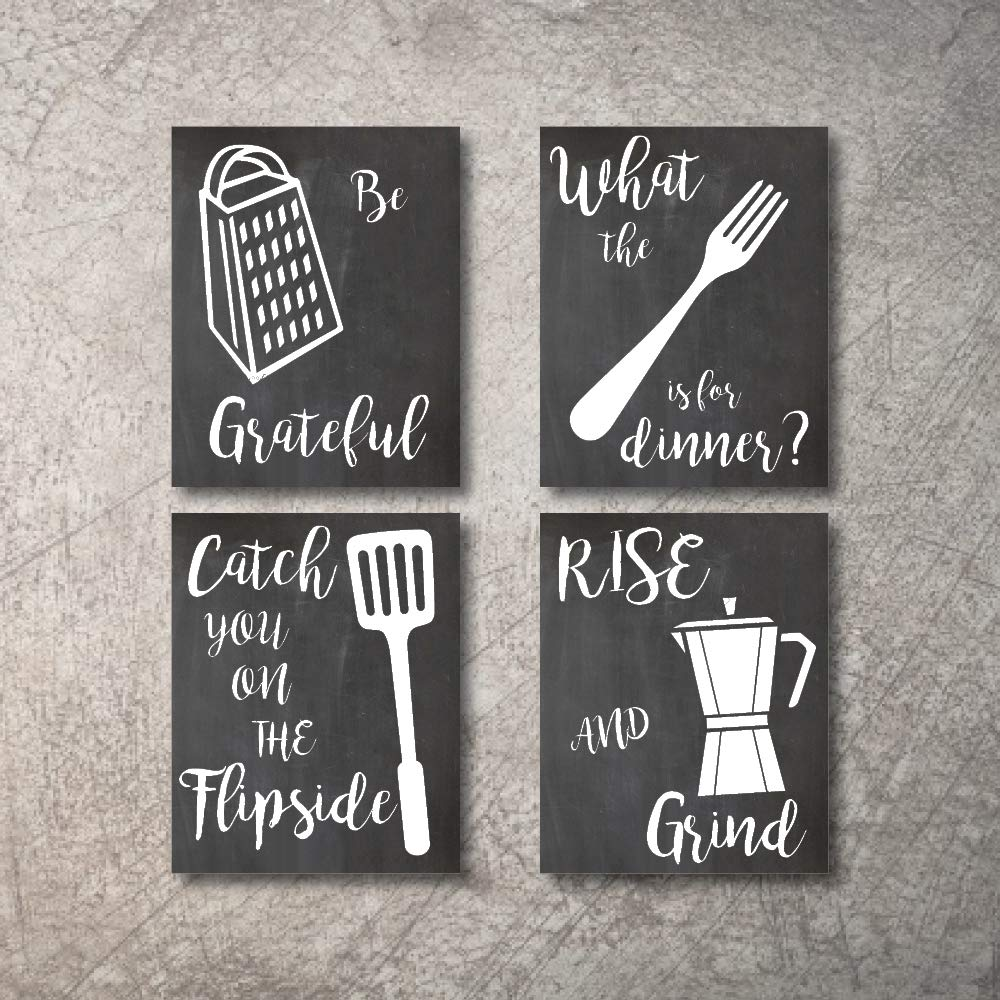 Kitchen Wall Decor Art Prints 4 UNFRAMED Rustic Wall Signs Home Coffee Decor Pictures Funny and Inspirational Farmhouse Style Wall Decorations Living Dining Room Cuadros pared de cocina (Black, 5x7)