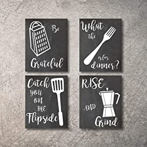 "Home Decor Funny Gift 4 Kitchen Wall Art Prints Kitchenware with Sayings 8""x10"" Unframed Farmhouse Home Office organization Signs Bar Accessories Decorations sets white house Deco Kitchen Decor"