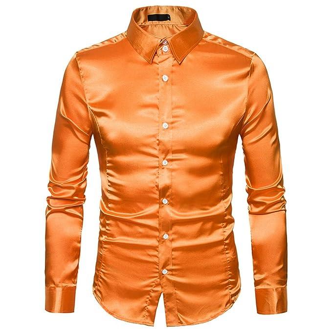 28d22396bb841 Mada Mens Shiny Satin Silk Shirt Dance Dress Shirts Long Sleeve Club Tops  US Large Orange