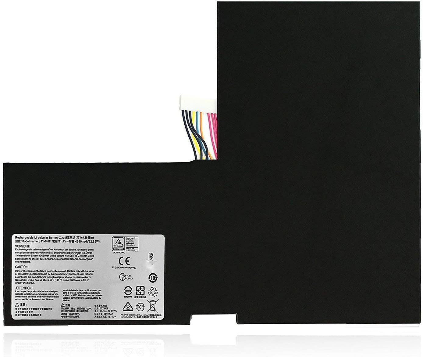 BTY-M6F MS-16H2 3ICP5/40/99-2 Replacement Laptop Battery for MSI GS60 2PL 2PC 2PE 2QC 2QD 6QE 6QC PX60 16H2 2QE 2pc-003 6QC-257XCN 2QE-215CN2QE-215CN 6QC-070XCN(11.4V 52.89Wh 4640mAh)
