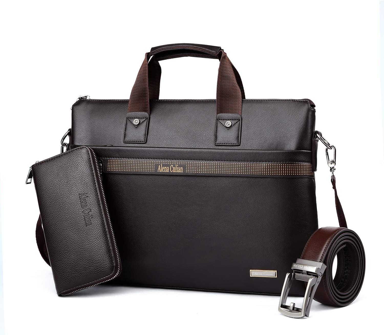 Men Briefcase Leather Man Purse Business Bag with Belt Wallet BROWN