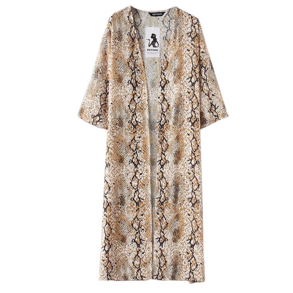 Womens Chiffon Floral Print Long Beachwear Kimono Bikini Cover up Boho Cardigan Tops by Quistal